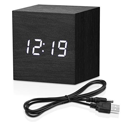 Topacom Wooden Digital Alarm Clock Cube Little Clock, LED Table Clock for Heavy Sleepers, Kids, Bedrooms with Adjustable Brightness Voice Control, Black