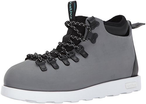 Native Shoes Women's Fitzsimmons Block Boot Rain, Dublin Grey/Shell White/Jiffy Black, 5 B US