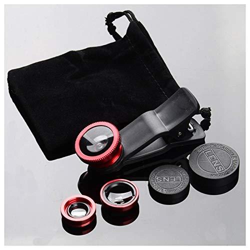 Kit de Lentes de la cámara del teléfono móvil Lente Ojo de pez + Lente Macro 2 in1 y Lente Gran Angular Súper con Clip de Teléfono Universal Negro - Rojo