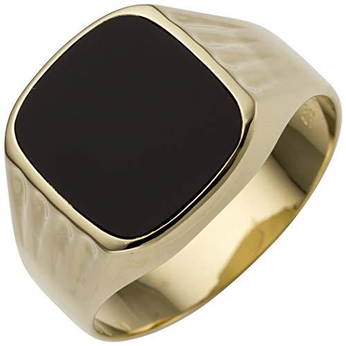 JOBO Herren Ring 585 Gold Gelbgold 1 Onyx Goldring Größe 66