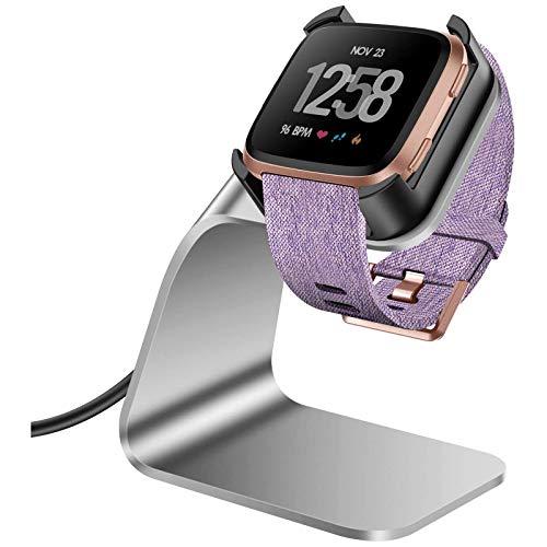 KIMILAR Ladegerät Kompatibel mit Fitbit Versa/Versa Lite Ladestation (Nicht für Versa 2), Ladekabel Dock Premium Aluminium Halter mit 4,2 Fuß Kabel für Versa Smartwatch (Silber)