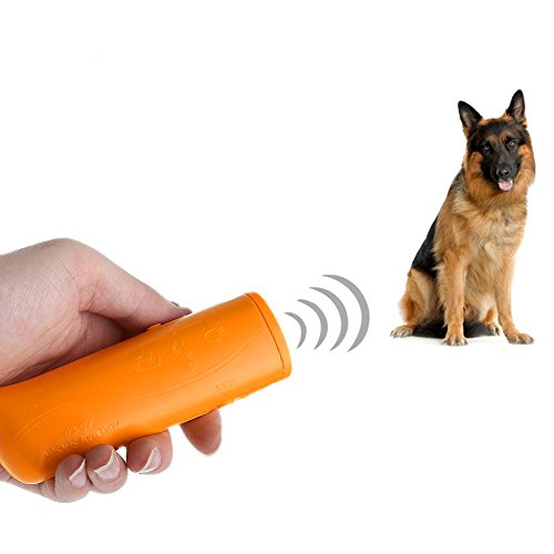 Yxaomite LED Ultraschall Hunde Repeller und Trainer Gerät Haustier Hundetraining Stop Barking 3 in 1 Anti Bellen Stop Rinde Handheld Hunde Trainingsgerät Deterrent(Gelb)