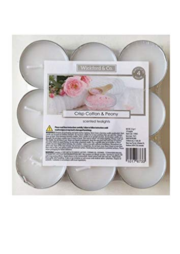 Wickford & Co CANDLE Crisp Cotton & Peony 36 tea lights Scented tealights