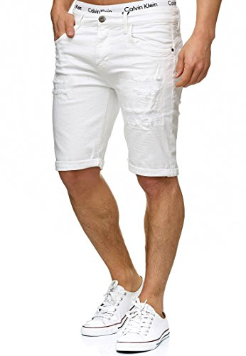 Indicode Herren Caden Jeans Shorts mit 5 Taschen aus 98% Baumwolle | Kurze Denim Stretch Hose Used Look Washed Destroyed Regular Fit Men Short Pants Freizeithose f. Männer Holes - Off White XXL
