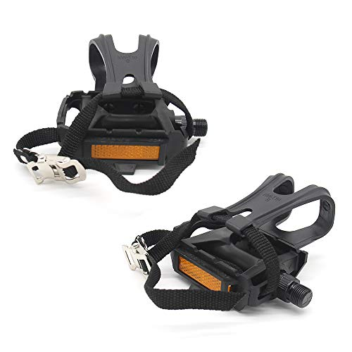 ENEX Bike Pedals, Fitness Exercise Spin Bike with Toe Clips Cage and Straps for Outdoor Cycling and Indoor Stationary Bike 9/16-Inch Spindle Resin/Alloy Bicycle Multi-Purpose Pedals-2 Pack