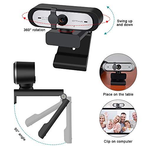 OTHA Webcam 1080P 60FPS OBS mit Autofokus Dual Mikrofon, HD Computer Kamera 360°Drehbarem USB Webkamera mit Automatischer Lichtkorrektur Web Cam für Desktop PC