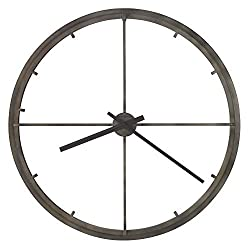 Howard Miller Girvan Gallery Wall Clock 625-720 – 35.5-Inch Diameter, Aged Charcoal Finish, Bar-Style Hour Markers, Round Outer Frame, Antique Home Décor, Quartz Movement