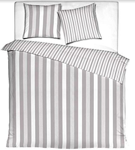 Aminata Kids - Partner-Wende-Bettwäsche-Set Uni Streifen 220-x-240-cm Damen, Männer, Jugendliche & Paare - Baumwolle - hell-grau weiß - weiches Material, Marken-Reißverschluss & Öko-Tex