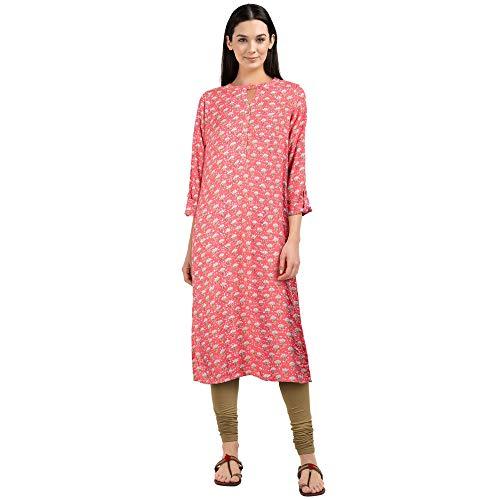 global desi Women's Rayon a line Salwar Suit Set (SS19GH064KURYSCORALXS_Coral_X-Small)