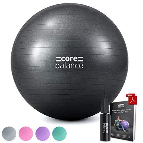 CORE BALANCE, Ballon d'Exercices pour Entraînement Gymnastique, Fitness, Yoga, Grossesse - Antidérapant/Anti-Éclatement - Diamètre Disponible : 55/65/ 75/85 cm avec 1 x Pompe