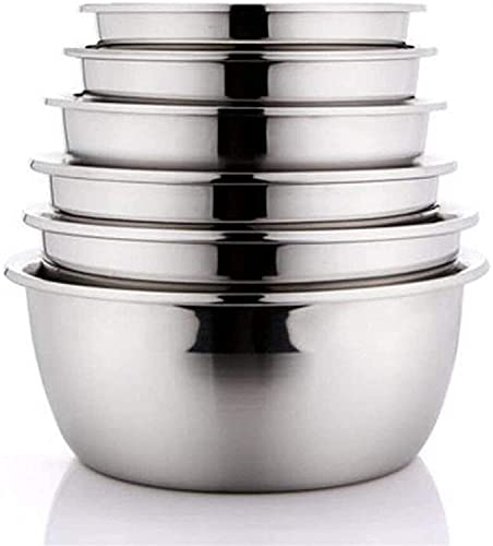 ZW18U Fruit Bowls Stainless Steel Pot Mixing Basin Home Wash Vegetables Pots Soup Basin 6 Pcs/Set for Catering and Home Salad Bowls