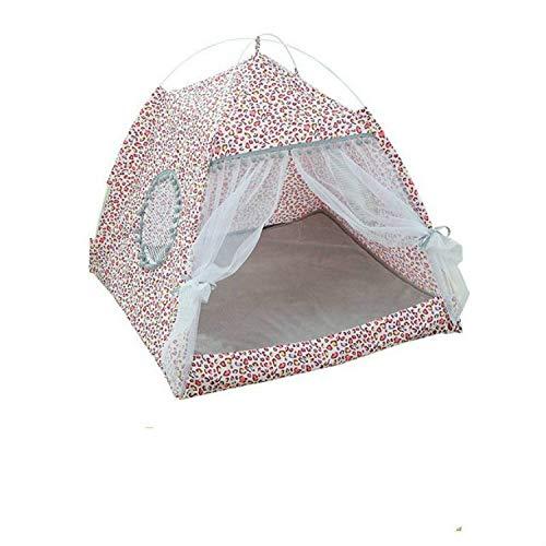NoNo Haustier Hundebett Four Seasons Universal-zusammenklappbarer Haustier-Zelt, Hund Katze Camping-Zelt Hundereisebett Außenlager, Easy Set Up und entfernen M (Farbe : Leopard Grain Pink)
