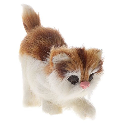 Figurine Chat Animal de Compagnie à Fourrure Décor à La Maison Cadeaux Enfants Jouets - # 2, 11 * 8cm