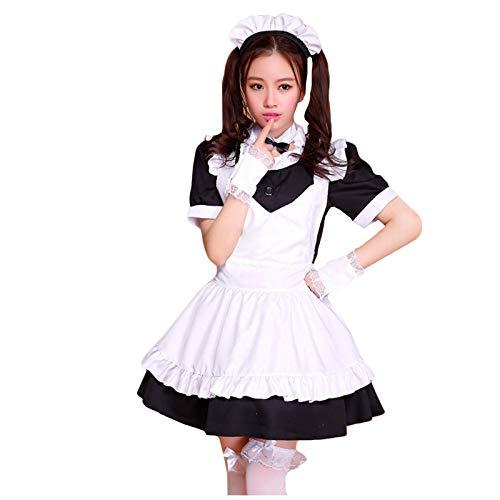 NHNKB Disfraz de Halloween de Maid para mujer, disfraz de Alicia, conjunto de 5 piezas, vestido negro, delantal blanco, gorros, cuello, mangas de encaje (no contiene calcetines largos).