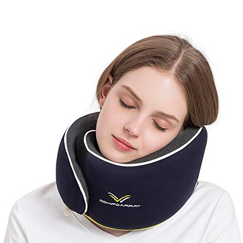 ComfoArray Travel Pillow, Neck Pillow for Airplane and Car. New Upgrade in 2020,Wider Adjustable Range, Suitable for Everyone's Size. Enhanced Front Support Effect.A Whole Set of Travel Kit.