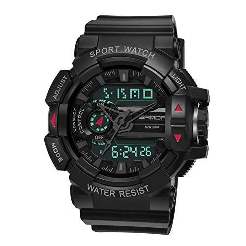 SANDA Reloj Mujer Redonda Multifuncional Amantes de los Relojes electrónicos Populares Hebilla de Pasador Deportes Impermeable Reloj para Hombres-Negro Completo