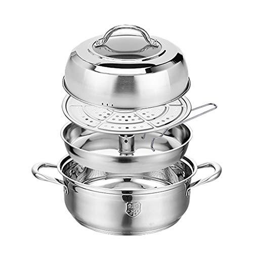 304 Olla De Acero/Vapor, Hogar De 3 Capas Olla De Acero Sopa, (28/30/32 Cm), Que Se Utiliza For La Estufa De Gas/Cocina De Inducción Ollas (Size : 30cm)