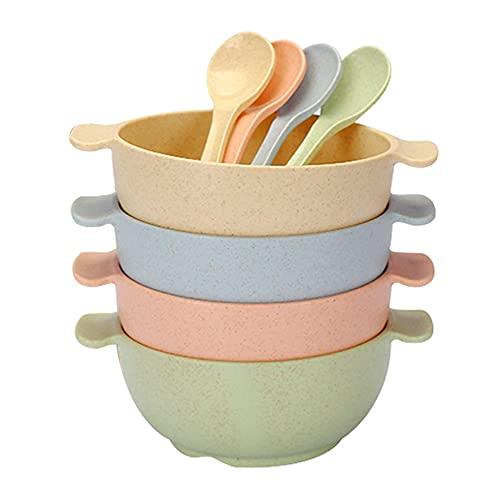Apto para microondas Placas de Paja de Trigo Tazón Conjunto de Cereales irrompible Cuenco de Cuchara Ligero ecológico con Asas para 4pcs Sopa de Fideos niño niños