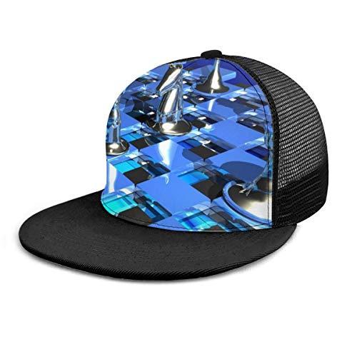 FONDSILVER - Gorra de béisbol unisex para deportes de ajedrez, diseño de arte creativo, unisex, ajustable, plano, visera de hip hop, sombreros para deportes al aire libre, color negro