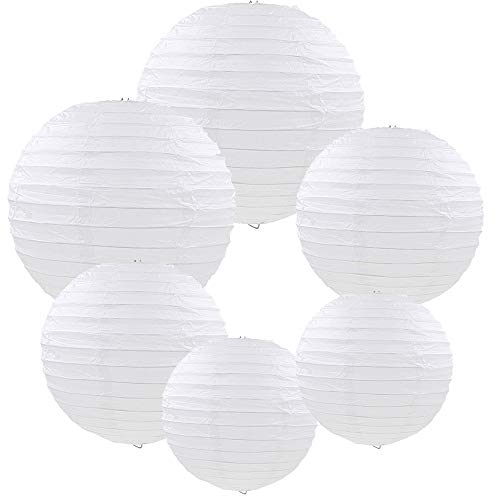 E-MANIS White Paper Round Lanterns for Birthday Wedding Party Decorations Crafts (1-Pack of 6) (White)