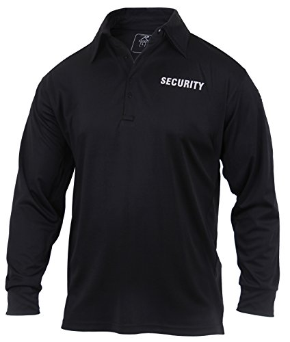 Rothco Moisture Wicking Long Sleeve Security Polo, 2XL Black New Hampshire