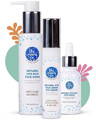 Natural Vita Rich Night Repair Combo with Vitamin C Face Wash, Face Serum and Under Eye Cream