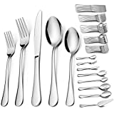 68 Pieces Silverware Set with Serving Set, HaWare Stainless Steel Modern Flatware Eating Utensils Set, Includes Forks/Spoons/Dinner Knives, Service for 12, Mirror Polished, Dishwasher Safe