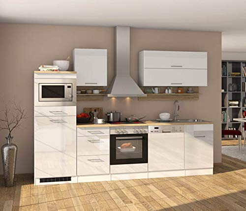 lifestyle4living Küche mit Elektrogeräten 280cm | Küchenzeile Küchenblock Einbauküche E-Geräte | Hochglanz Weiß/Eiche Sonoma
