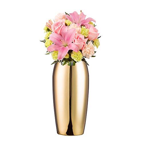 IMEEA Blume Vase Edelstahl Deko Vase für Zuhause, Party, Hochzeit Mittelpunkt, 24 cm gold
