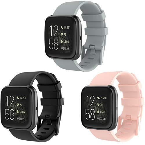KingAcc Correa para Fitbit Versa 2, Silicona Suave Pulsera de Respueto con Hebilla de Metal Compatible con Fitbit Versa/Versa 2/Versa Lite smartwatch