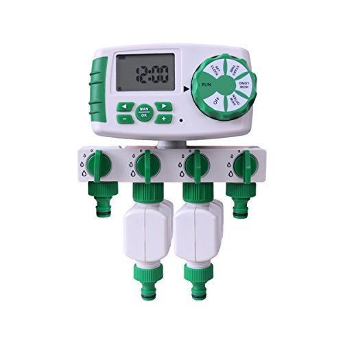 Aqualin Programador de riego 4 Zonas Controlador de Temporizador de Agua en jardín con 2 válvulas solenoides