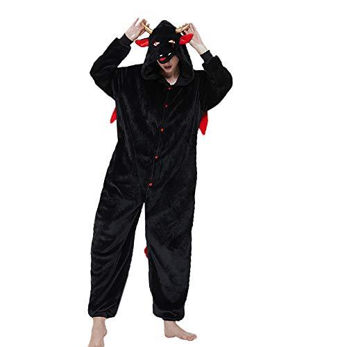ACOGNA Little Devil Onesie Adult Costume Women One Piece Pajama Holiday Halloween Christmas Fleece Cosplay Suit, XL Black