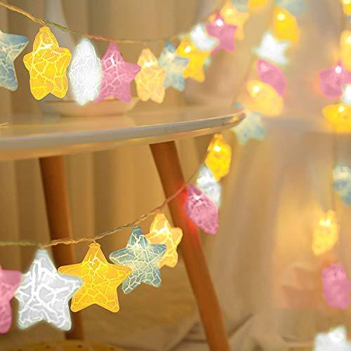 Stern-Lichterkette, bunte Sterne, für Weihnachten, Geburtstag, Urlaub, Party, drinnen und draußen
