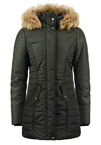VERO MODA Nadia Damen Winter Jacke Parka Mantel Winterjacke gefüttert mit Kunst-Fellkapuze, Größe:S, Farbe:Peat