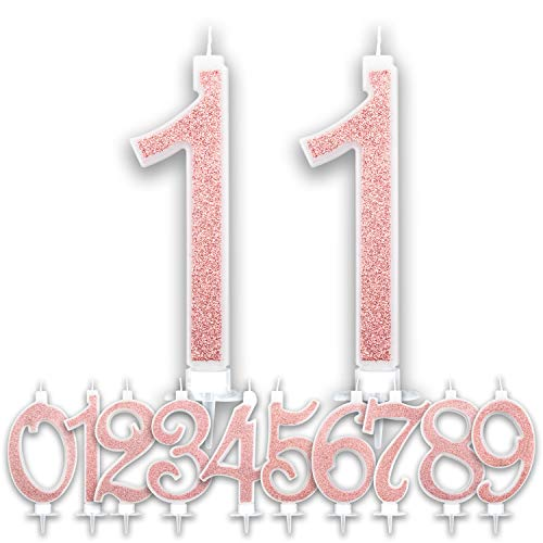 Candeline Grandi Compleanno Rosa Gold Glitter | Numeri brillanti per Torta Festa Birthday Ragazza | Decorazioni Candele Topper Auguri Anniversario Torta | Altezza 13 CM (11 Anni)