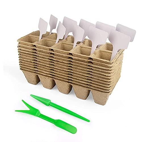 FYRMMD Paquete de 12 bandejas de iniciación de semillas, 10 rejillas biodegradables macetas cuadradas de turba con 10 etiquetas de plantas para vegetales Fr(bolsa de plantación)