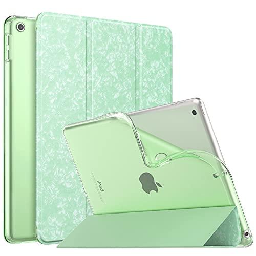 MoKo Funda para Nuevo iPad 8ª Generación 10.2' 2020 (10.2 Pulgadas) / iPad 7ª Generación 2019, Delgado Función de Soporte TPU Protectora Plegable Cubierta Trasera Transparente, Verde Moteado