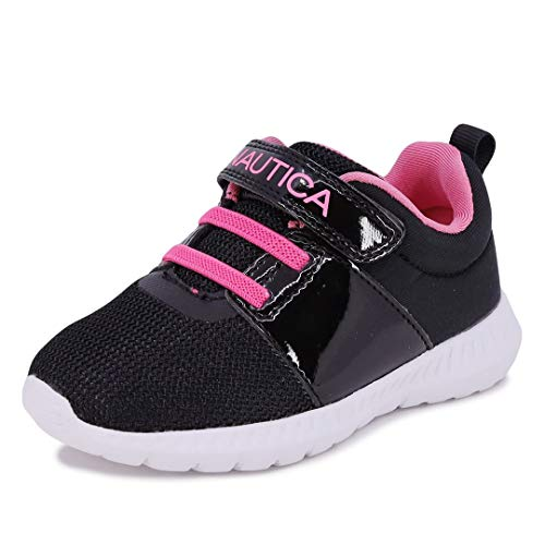 Nautica Kids Girls Fashion Sneaker Athletic Running Shoe with Stap for Toddler and Little Kids-Pruitt-Black Pink Carnation-10