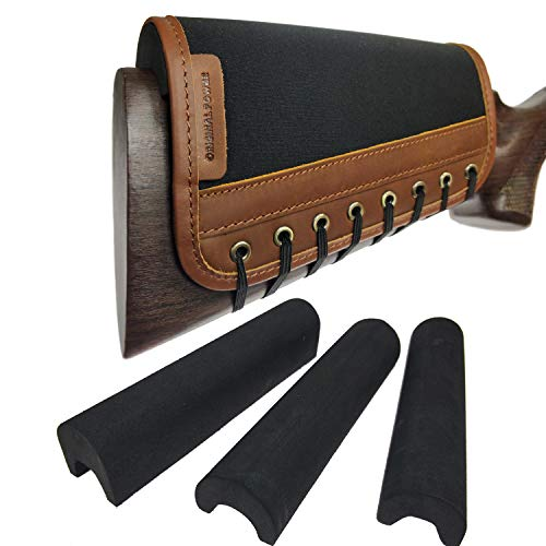 Leather Rifle Gun Buttstock Cover, Non-Slip Cheek Rest Pad (Brown, with EVA)