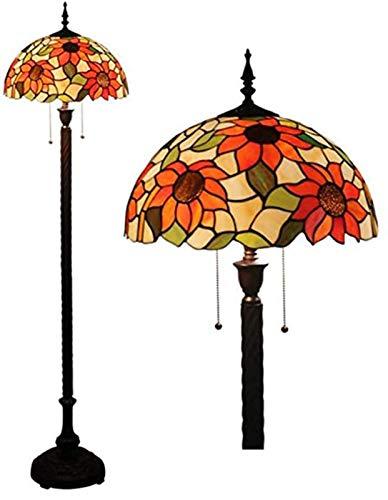 LYEJFF Tiffany-Art-Stand Lampe Hohe Buntglas Serenity Victorian Lampshade 2E27 Antike Leseleuchten Schlafzimmer Wohnzimmer-Liebhaber-Geschenk