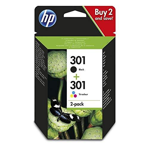 HP 301 N9J72AE, Pack de 2, Cartuchos de Tinta Originales Neg