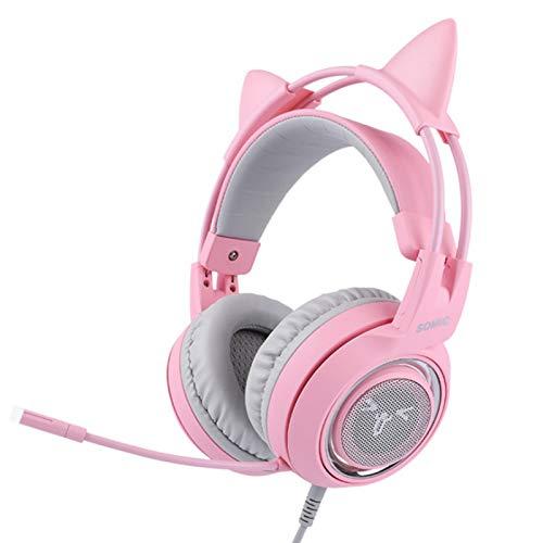 G951S - Auriculares de juego para PS4 PS5, auriculares de oreja de gato extraíble con caja de control micrófono para interruptor - 3.5mm Jack(rosa)