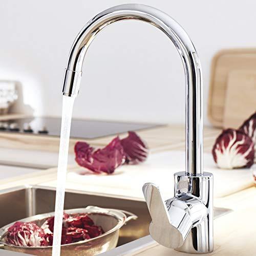 Grohe – Eurostyle Cosmopolitan Küchenarmatur, herausziehbarer Auslauf, Schwenkbegrenzung, Chrom - 5