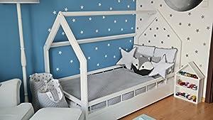 immagine di letto & casa in legno stile scandinavo nordico bambino cameretta 160x80 + sponda (colore: bianco)