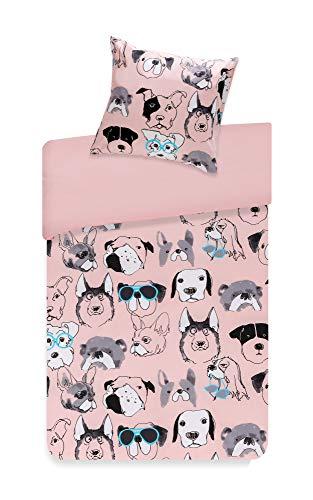 SCM Bettwäsche 135x200cm Hunde 100% Baumwolle Renforcé 2-teilig Bettbezug & Kissenbezug 80x80cm Pink Ideal für Schlafzimmer Cool Dog