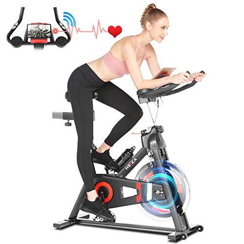 Heka Cyclette Casa per Allenamento con Volano 20 KG, Bicicletta Professionale per Casa, Spinning Bike Indoor con l'App, Bici Resistenza Regolabile con Schermo LCD e Cardio, Peso Massimo 150 KG (Black)
