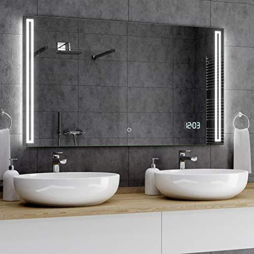 Alasta® Badkamerspiegel met Verlichting - 60x80 cm - Model Roma - Spiegel met Aanraaklichtschakelaar en LED Klok