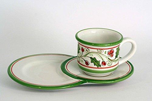 Tazza da colazione natalizia con piatto vassoio porta biscotti in ceramica di Caltagirone, decoro agrifoglio idee regalo Natale