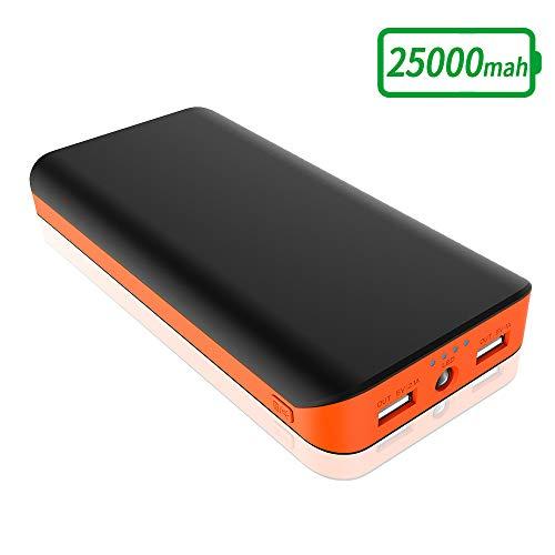 FKANT Batería Externa 25000mAh, Cargador Portátil Movil Alta Capacidad con 2 USB Puertos, Linterna LED de 4 Modos Power Bank para iPhone, Huawei, Samsung, Android, Tabletas y más Dispositivos-Naranja