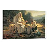 Jesus Talks With A Samaritan Woman Poster Painting On Canvas Bedroom Wall Art Decoration God Christ Pictures Home Decor Frame-style1 16×24inch(40×60cm)